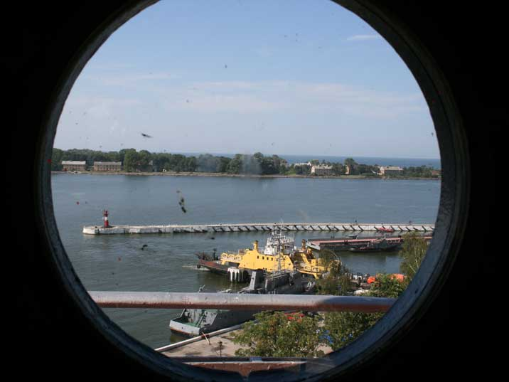 View on the Baltiysk Strait from a window of the lighthouse