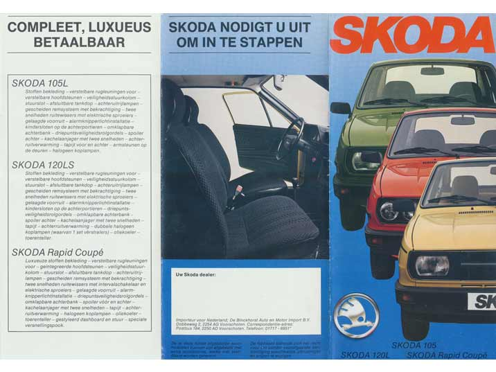 Late 1980s Skoda leaflet for the Netherlands promoting the 105L, 120LS and the Rapid Coupe models