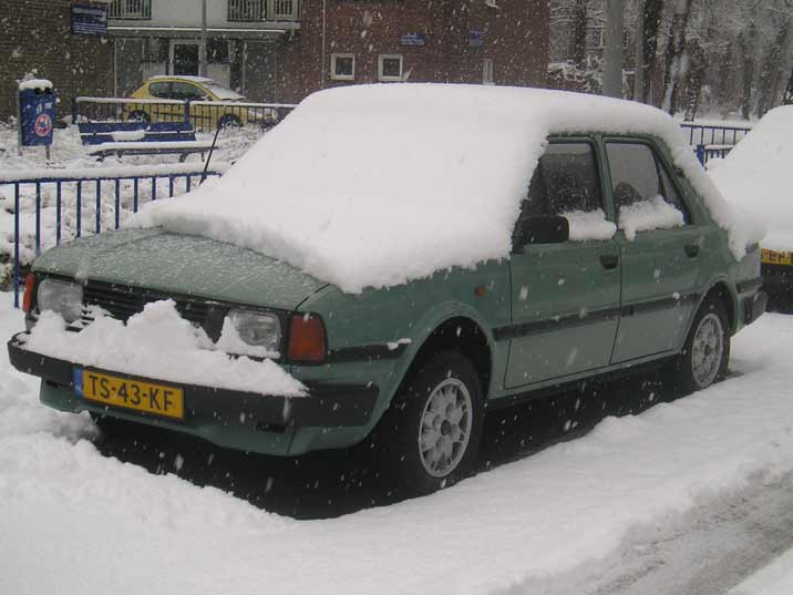 Snow and dirt roads are no problem for a Skoda 105 that was build to deal with these harsh condition in Eastern Europe