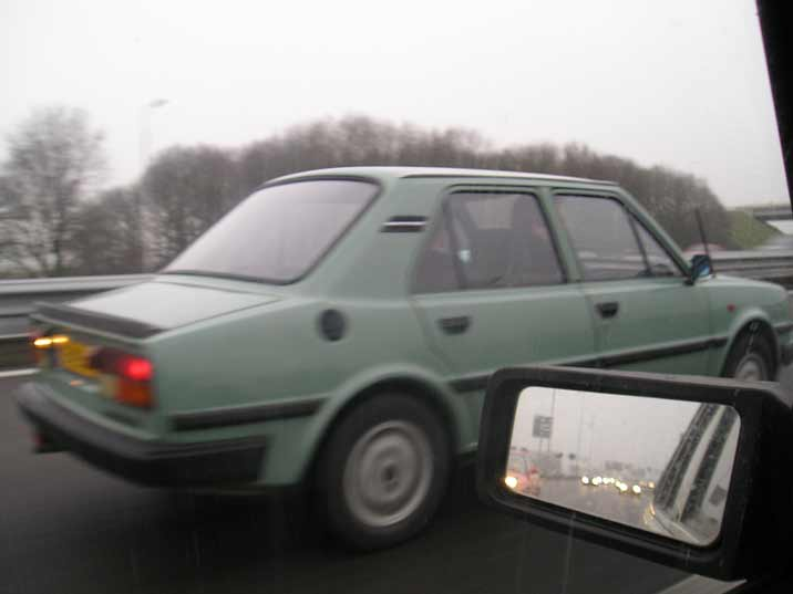 Overtaking other cars on the highway is no problem for the Skoda 105 thanks to its powerful engine