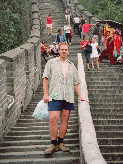 The steep stairs visitors have to climb on the Chinese wall