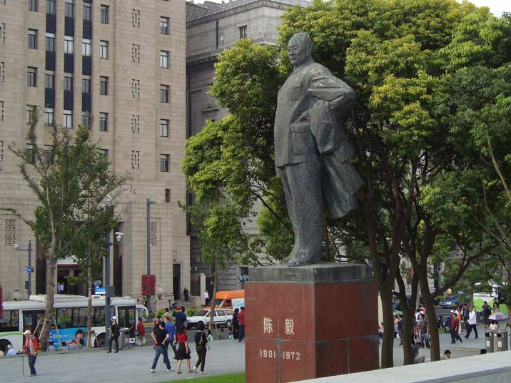 Statue of Chen Yi, who became the first communist mayor of Shanghai in 1949, removed from his post during the cultural revolution and later rehabilitated