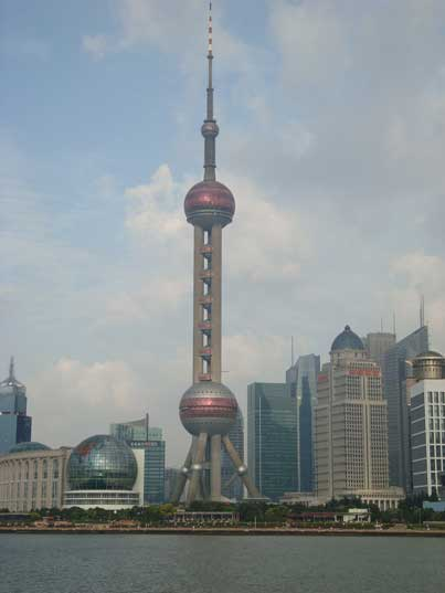 The 460 meter Oriental Pearl Tower that was the tallest structure in China until 2007 when it was surpassed by the Shanghai World Financial Center