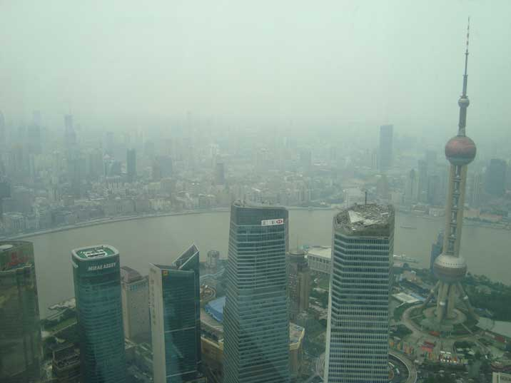 Pudong, the Huangpu River and the Bund seen from and observation deck of the Shanghai World Financial Center