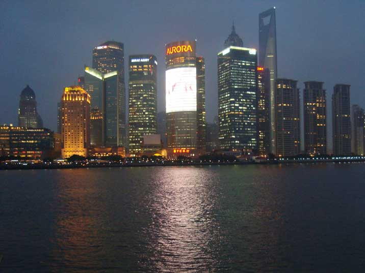 The sun sets at six in Shanghai and there is a great view on Pudong from the Bund in the evening