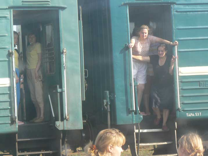 Ukrainians saying goodbye to their relatives on Kiev train station