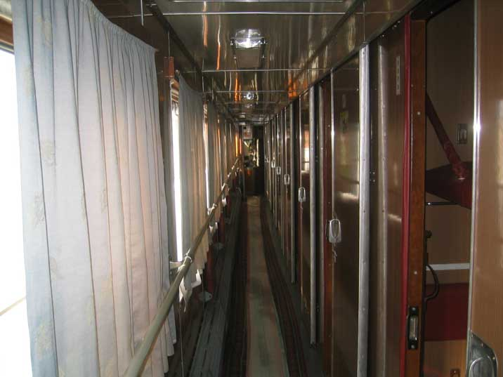 Corridor in a typical former Soviet long distance sleeper train