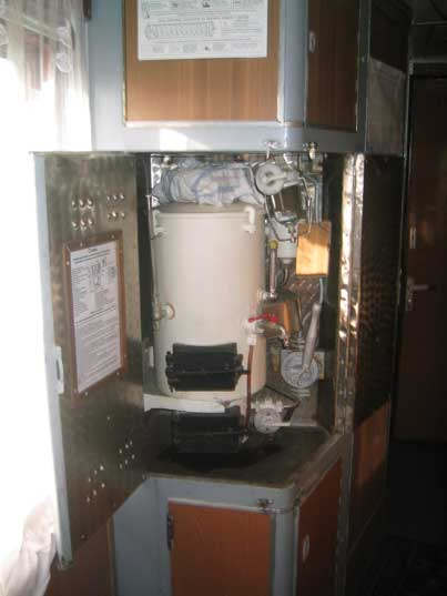 Water boiler to make tea, soup or noodles in an Ukrainian train