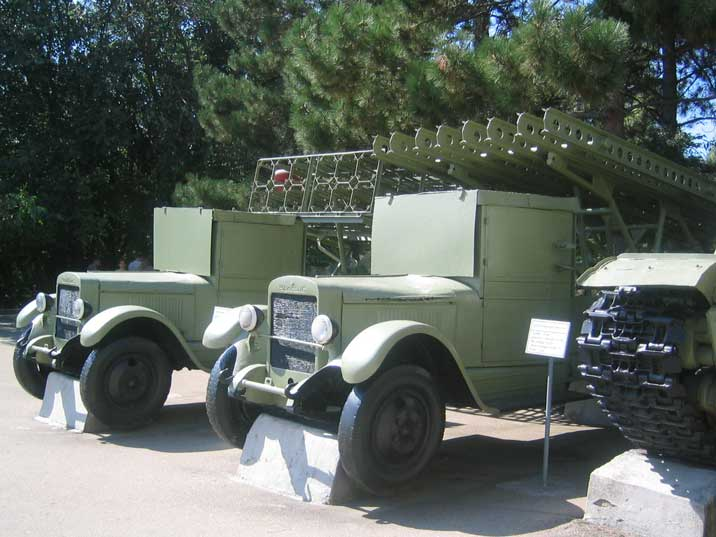 Two Soviet ZiS-12 trucks with Katyusha rocket launchers