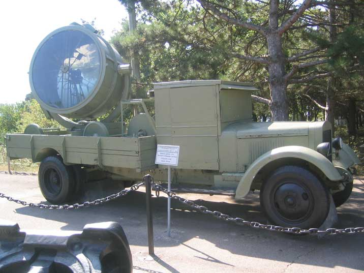 World War II ZiS-5 truck with a searchlight on Sapun Mountain