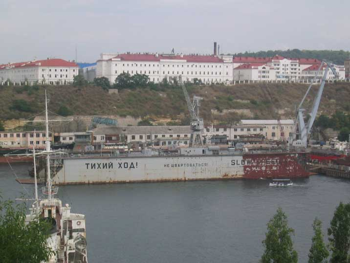 Russian Black Sea Fleet dry-dock PD-50 in Yuzhnaya bay Sevastopol