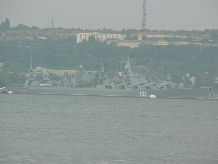 Russian Black Sea fleet Slava class cruiser Moskva in Sevastopol