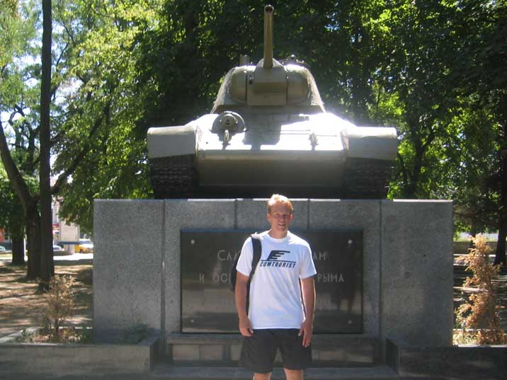 Great Patriotic War monument with T-34 tank in Simferopol