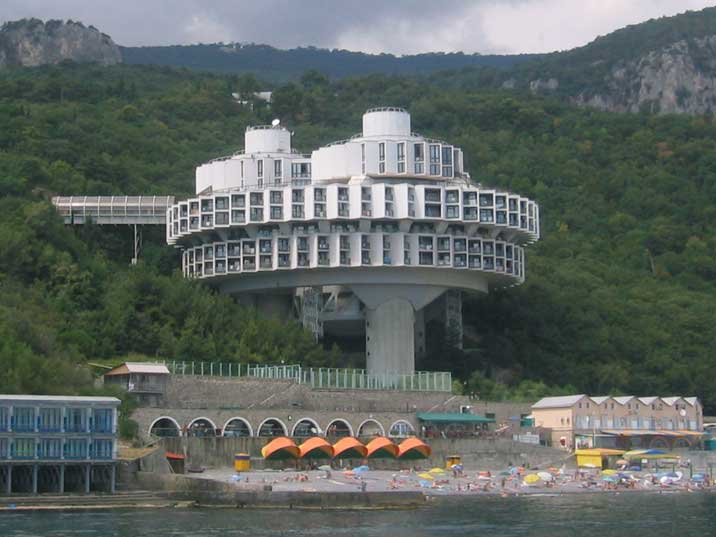 Sanatorium Kurpaty 8KM from Yalta seen from the black sea