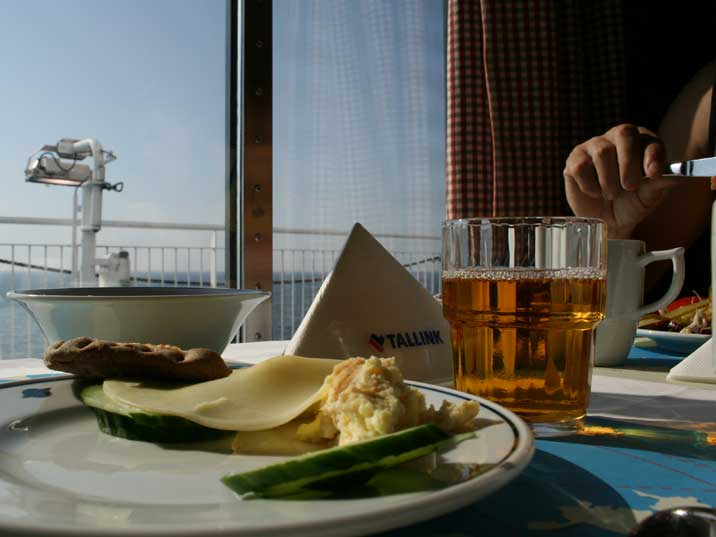 Ferry breakfast looking over the Baltic Sea with coffee and toast