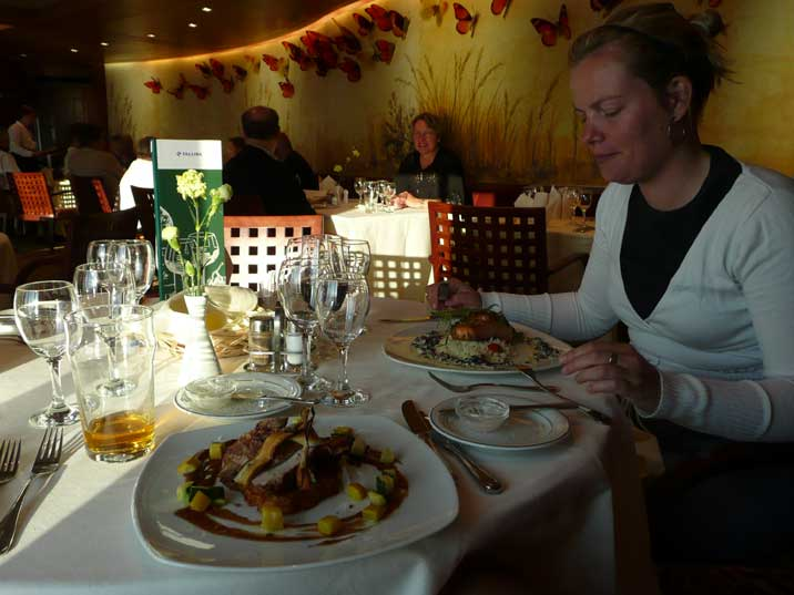 A quality a la cart dinner in the restaurant of the Tallink ferry