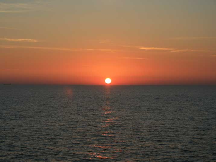 The sun sets over the Baltic Sea, seen from the ferry to Helsinki