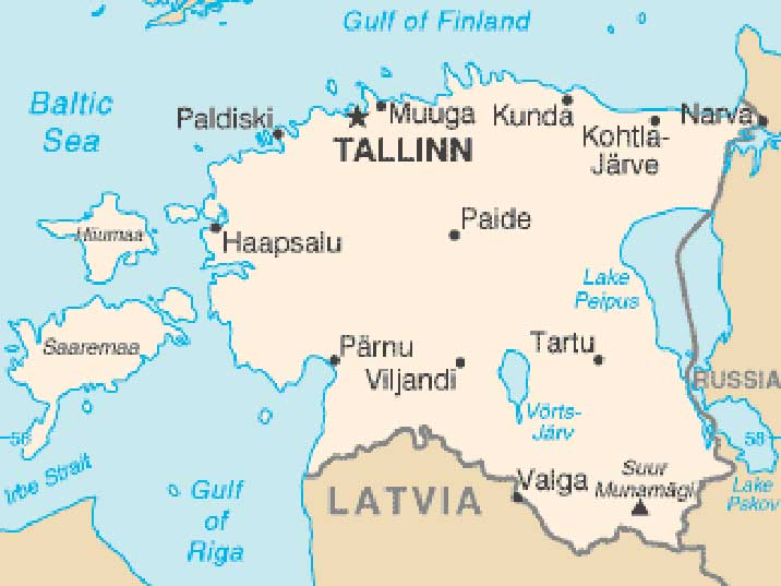 Map of Estonia the most Northern of the three Baltic countries