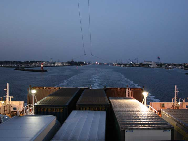 Lorry deck of the Tallink very to from Rostock to Helsinki