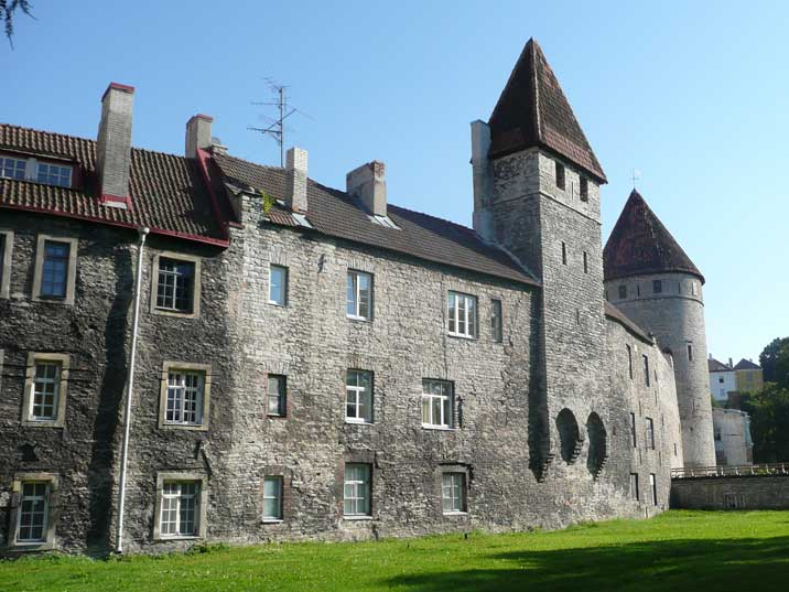 Old houses at Tornide valjak that are part of the Tallinn walls