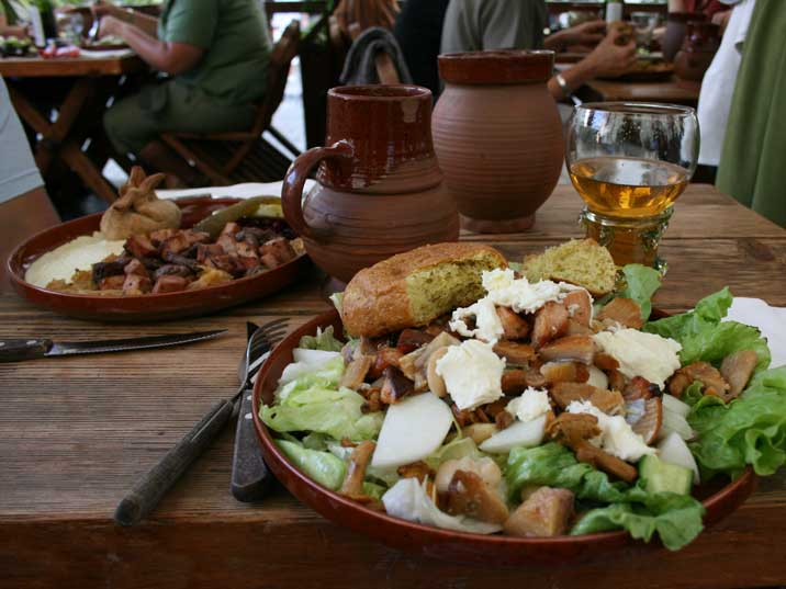 Traditional Estonian food served in the Olde Hansa restaurant