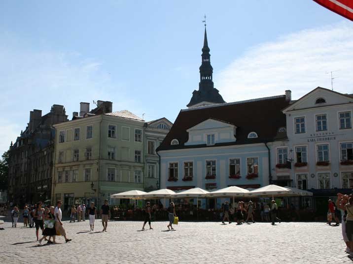 Tallinn's main square Raekoja Plats with terraces and restaurants