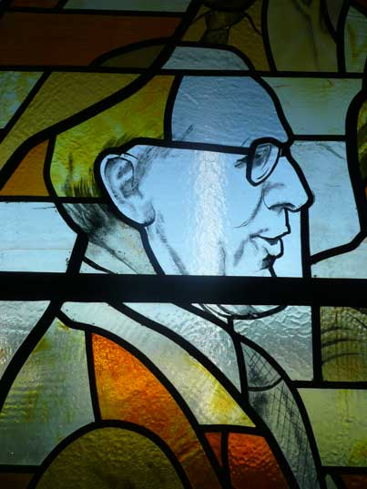Socialist realist stained glass artwork in the Tallinn TV Tower