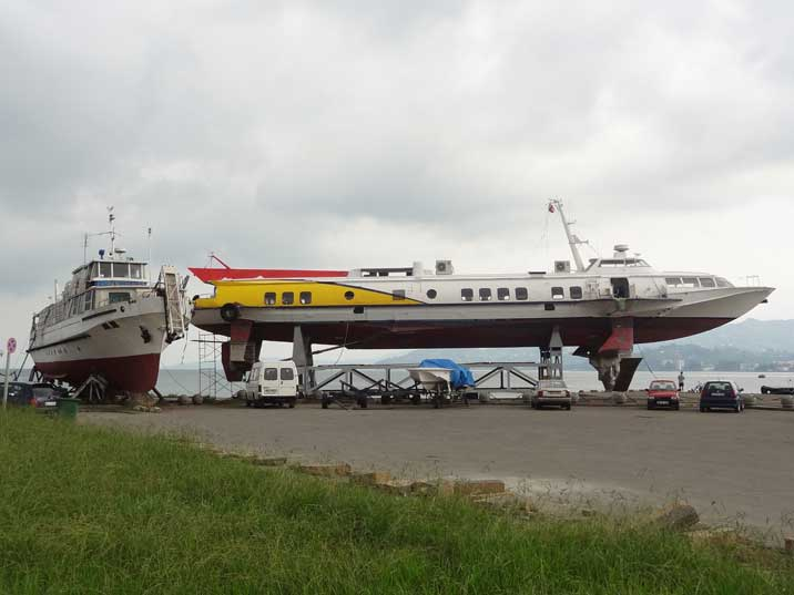 A Soviet era Kometa Type hydrofoil out of the water in the Harbour of Batumi waiting to be serviced