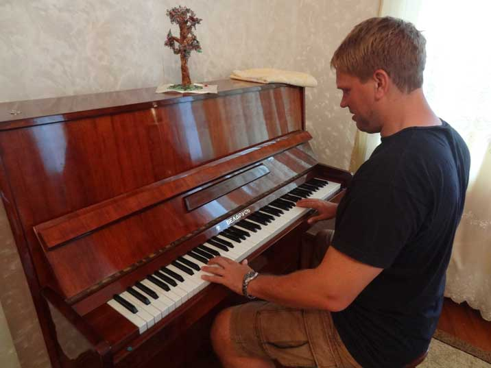A Belarus Piano manufactured in the Soviet Union with the famous made in the USSR logo near the brand name