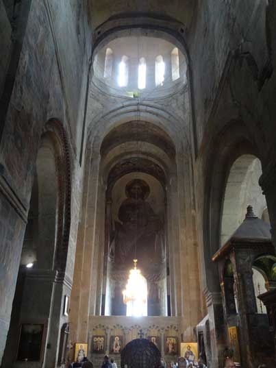 The interior of the Svetitskhoveli Cathedral in the town of Mtskheta known as the burial site of Christ's mantle