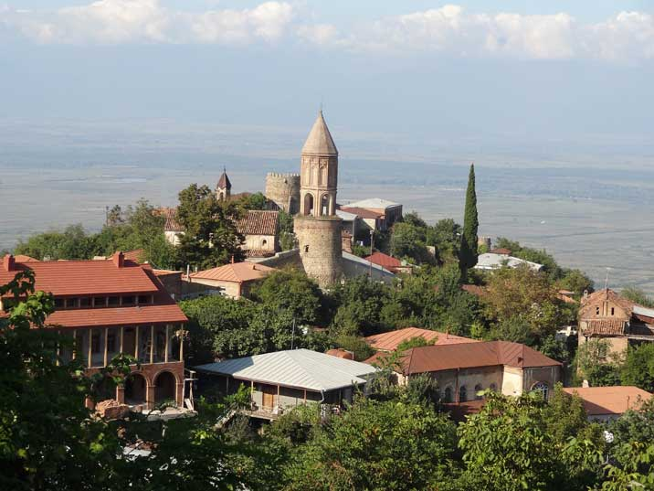 The beautiful old town of Sighnaghi located on a hill in the Kakheti province of Southern Georgia