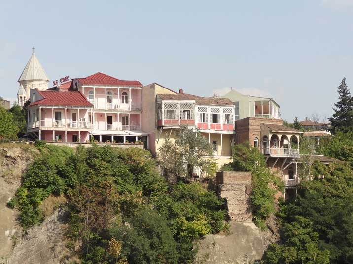 Old Georgian houses with characteristic balconies looking over the Mtkvari River in the Avlabari District of Tbilisi