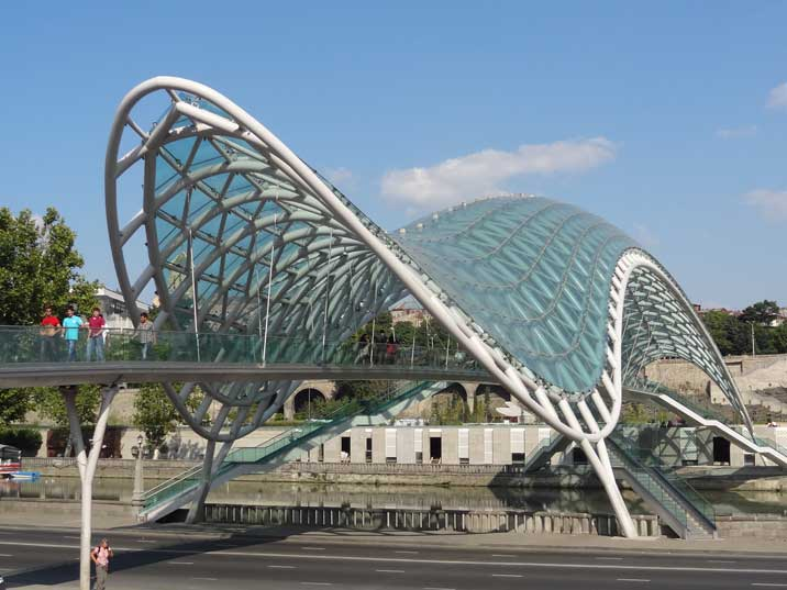 The Bridge of peace opened in 2010 is a food bridge that connects the Old Town of Tbilisi on the two river sides