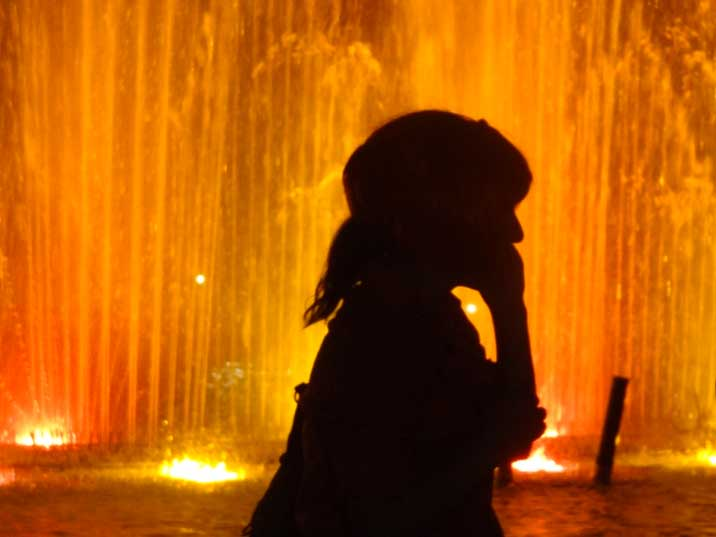 The night fountain show on renovated Europe Square draws a large crowd of locals and tourist every night