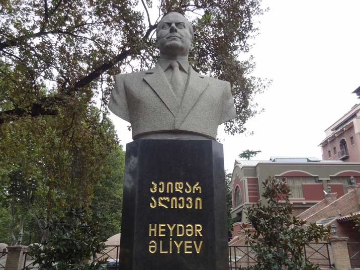 Bust of Azeri president Heydar Aliyev, Azerbaijan is a very important supplier of Gas and Oil for Georgia