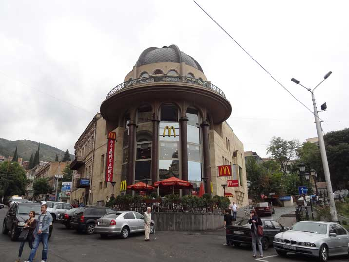 One of a view Mc Donalds buildings in Tbilisi, housed in a historical Socialist Realist building