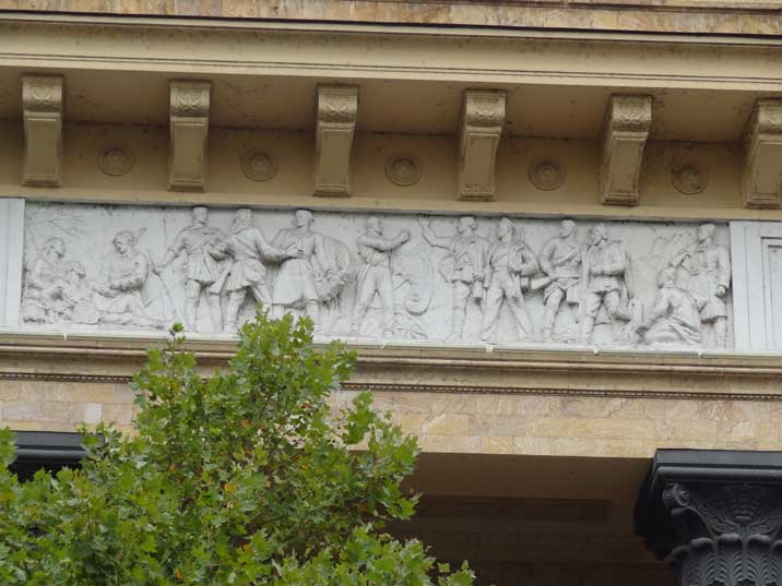 Decoration of the former Tbilisi Museum of Marxism and Leninism depicting Red Army soldiers during the revolution