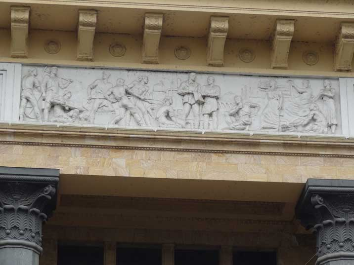 Decoration of the former Tbilisi Museum of Marxism and Leninism depicting factory workers, miners and textile workers