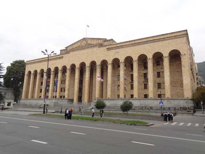 The Georgian Parliament building that Housed the Supreme Council of the Georgian SSR during Soviet times