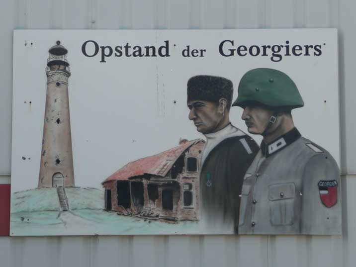 Georgian uprising exposition sign on the Texel Aviation museum