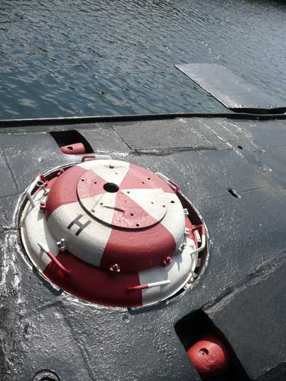 Escape hatch on the bow of the B-515 Tango class submarine
