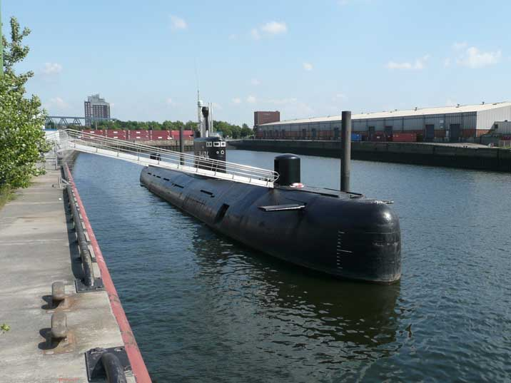 The U-434 museum submarine docked in the Hamburg harbour