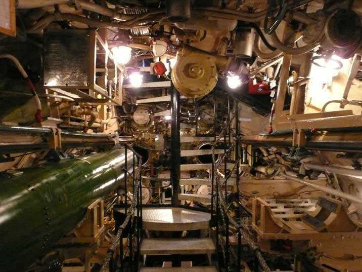 The entrance of the B-515 museum submarine in the Torpedo room