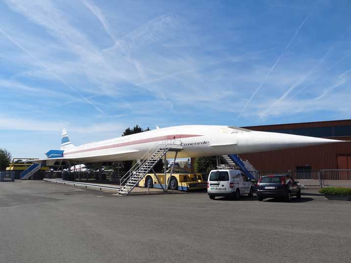 Full-size wooden replica model of the Concorde, build by the museum owners used as the Museum Restaurant