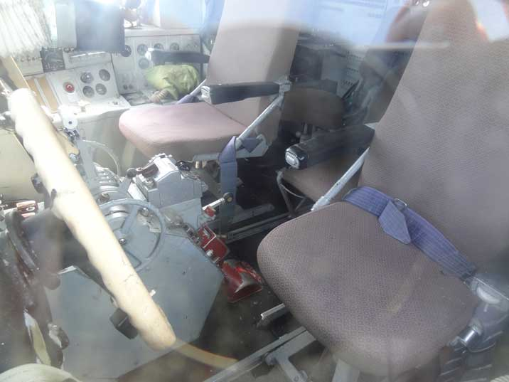 The cockpit of the Ilyushin Il-18V looks quit modern compared to the IL-14 that is also displayed in the museum