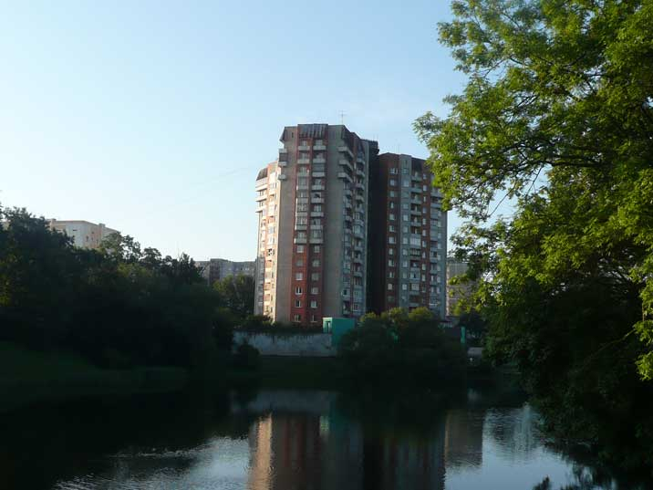 Soviet era residential buildings on the Kaliningrad lower pond