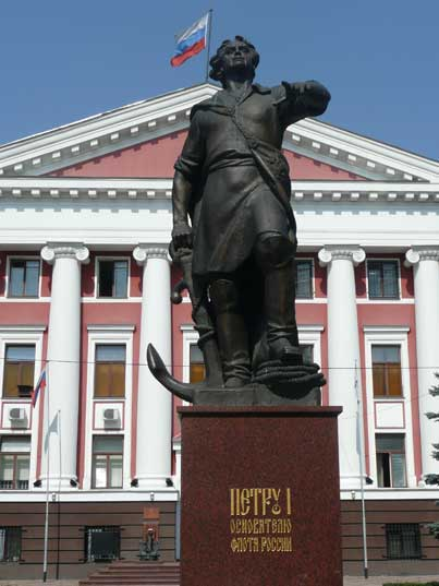 Peter the great statue in front of the Baltic Fleet headquarters
