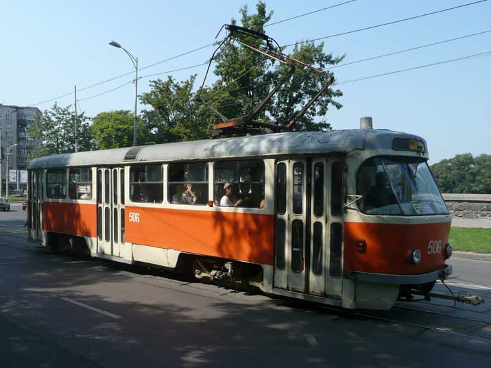 Soviet era Tatra T4SU tram in Kaliningrad build in Czechoslovakia