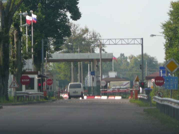The Russian Polish border at Mamohobo 50km from Kaliningrad