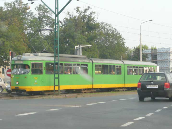West Germany made Duwag GT8 tram seen in he city of Poznan